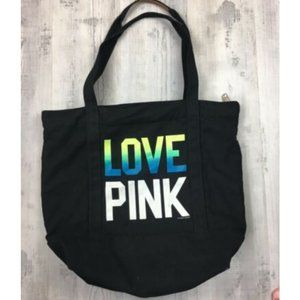 PINK Black Bag Tote Beach Travel Rainbow Spellout